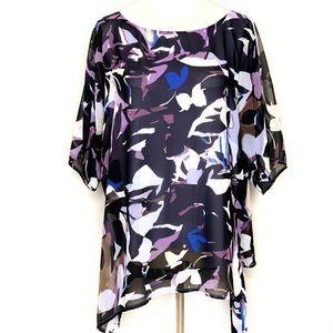 Dana Buchman lined asymmetric tunic blouse